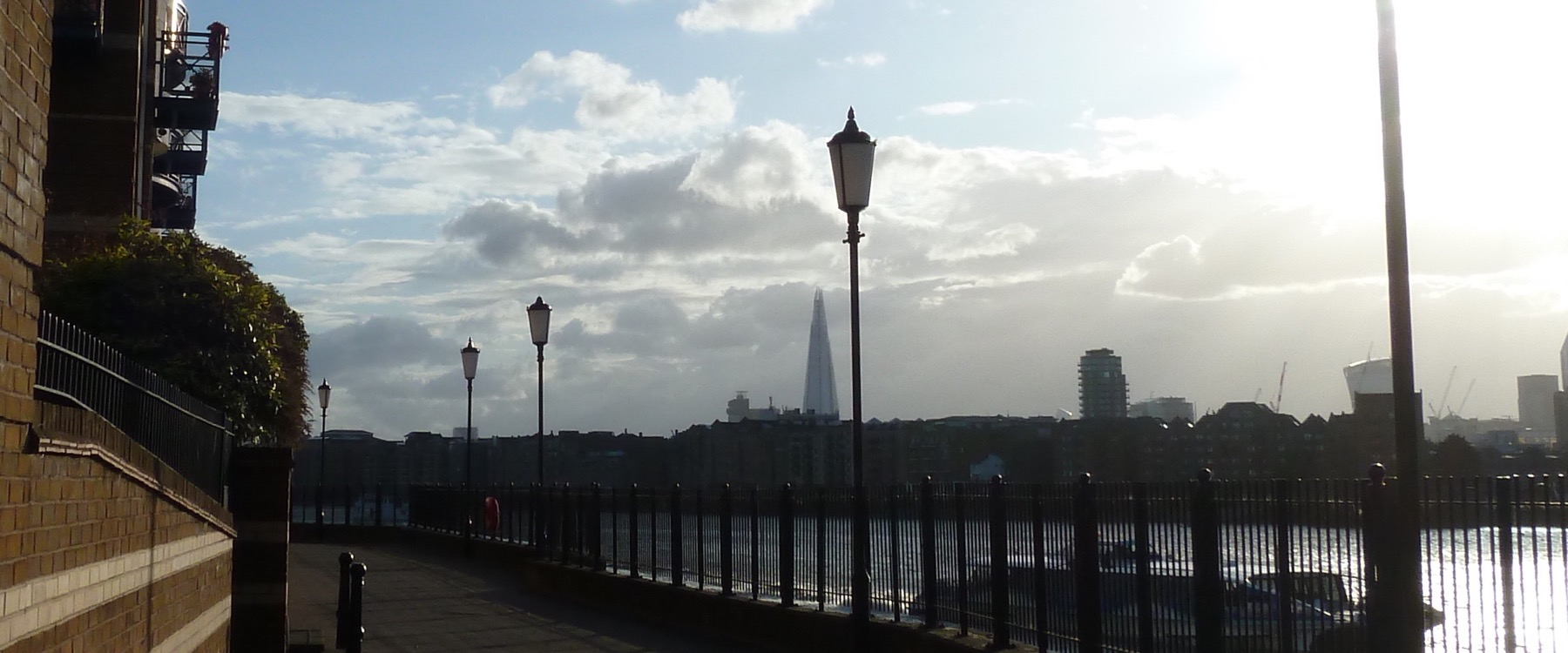 River view along the Thames, featuring the Shard
